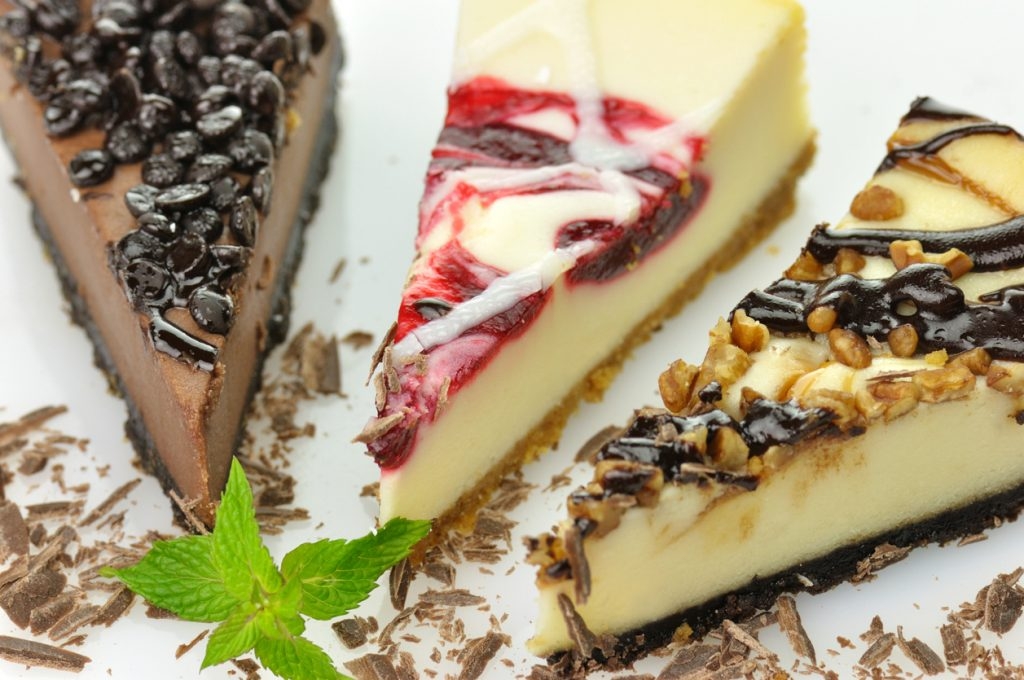 Cheesecake slices for National Cheesecake Day