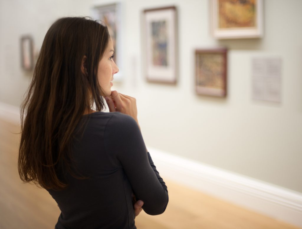 Woman viewing an exhibition at the Newark Museum