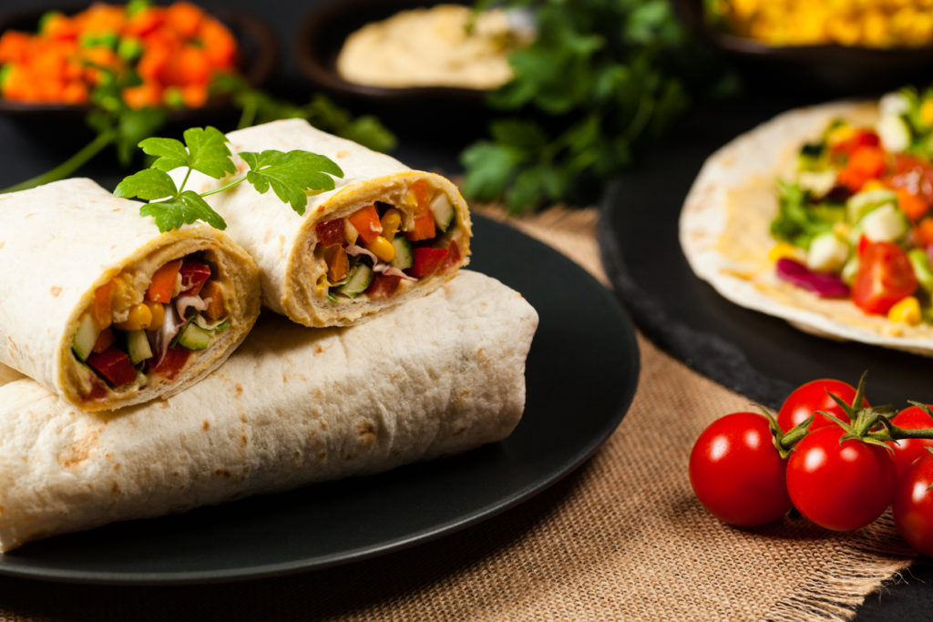 Tortilla with vegetables and seasonings