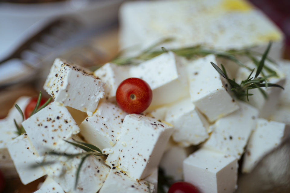 Feta cheese cut in cubes